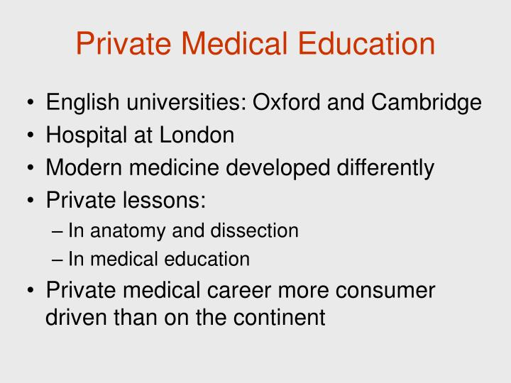 Private Medical Education
