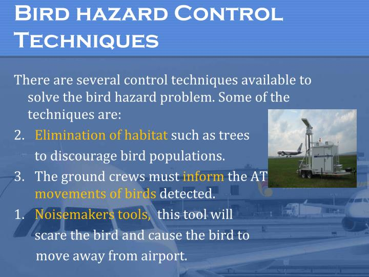Bird hazard Control Techniques