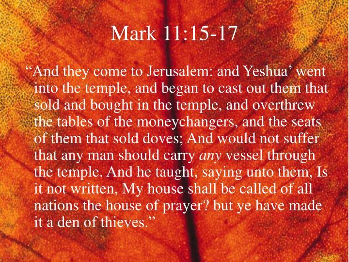 Mark 11:15-17