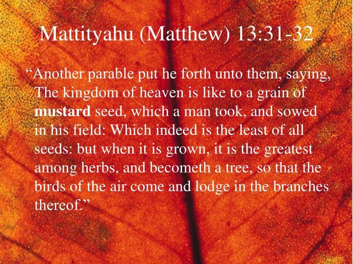 Mattityahu (Matthew) 13:31-32