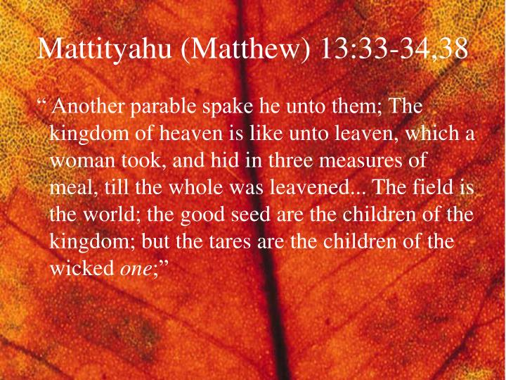 Mattityahu (Matthew) 13:33-34,38