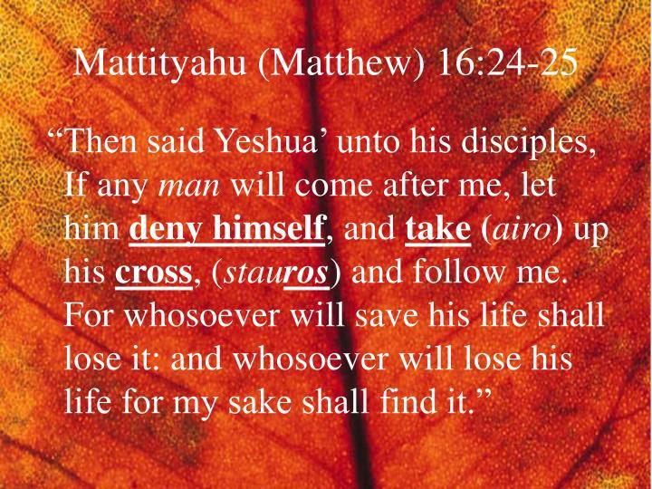 Mattityahu (Matthew) 16:24-25
