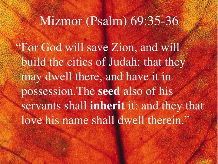 Mizmor (Psalm) 69:35-36