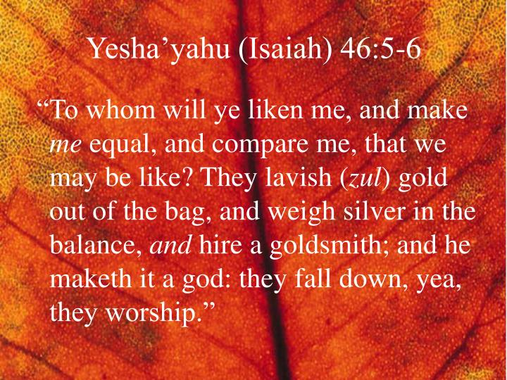 Yesha'yahu (Isaiah) 46:5-6