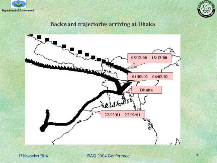 Backward trajectories arriving at Dhaka