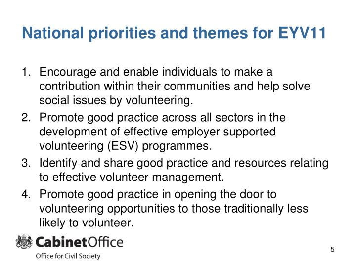 National priorities and themes for EYV11