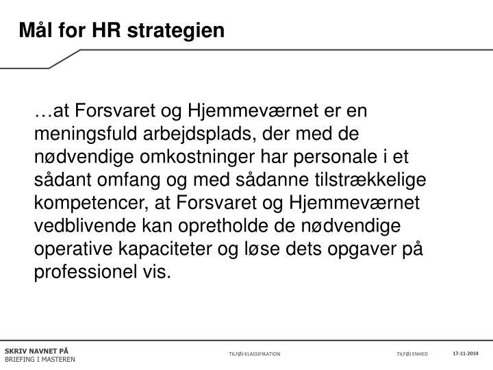 Mål for HR strategien