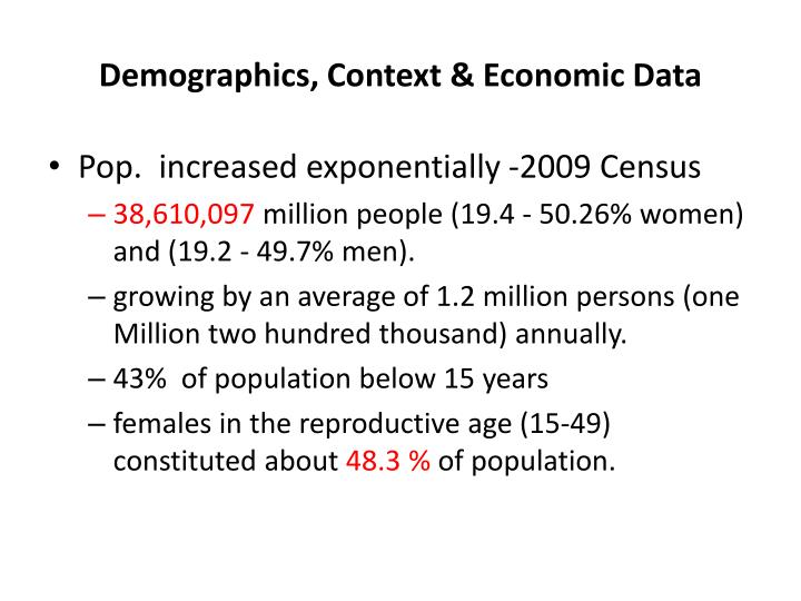 Demographics, Context & Economic Data