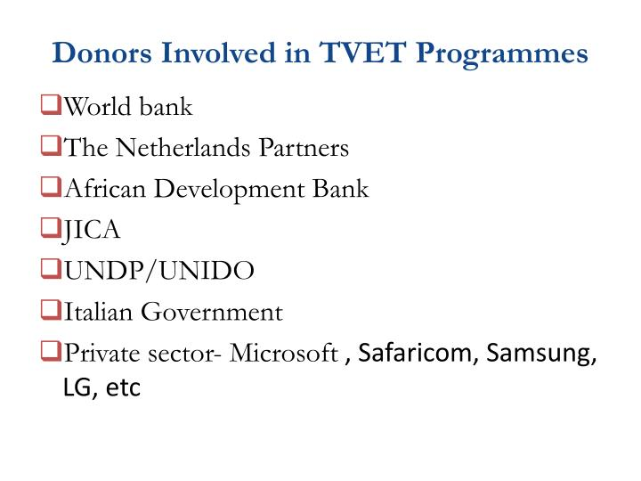 Donors Involved in TVET Programmes