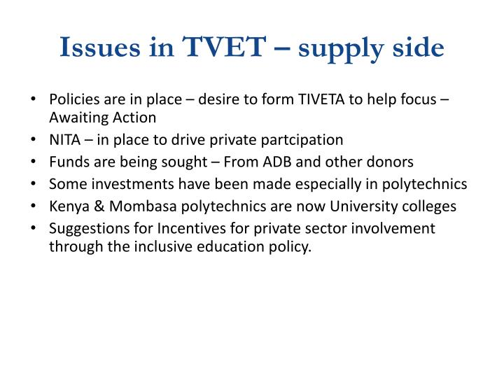 Issues in TVET – supply side