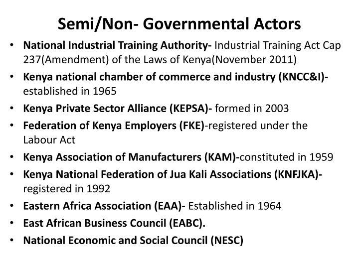 Semi/Non- Governmental Actors