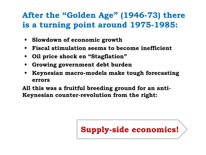 """After the """"Golden Age"""" (1946-73) there is a turning point around 1975-1985:"""