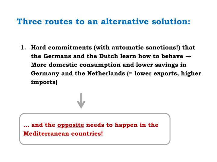Three routes to an alternative solution: