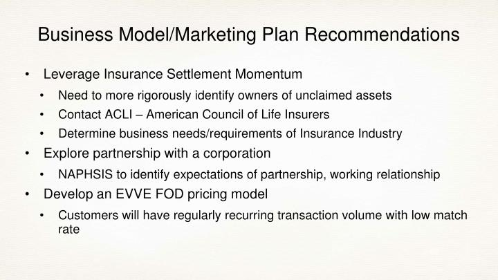 Business Model/Marketing Plan Recommendations