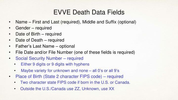 EVVE Death Data Fields