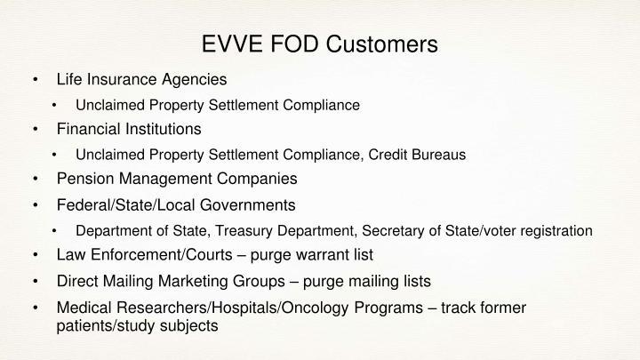 EVVE FOD Customers