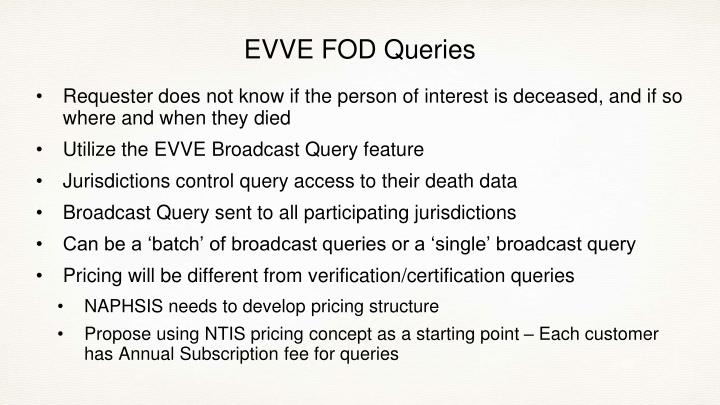 EVVE FOD Queries