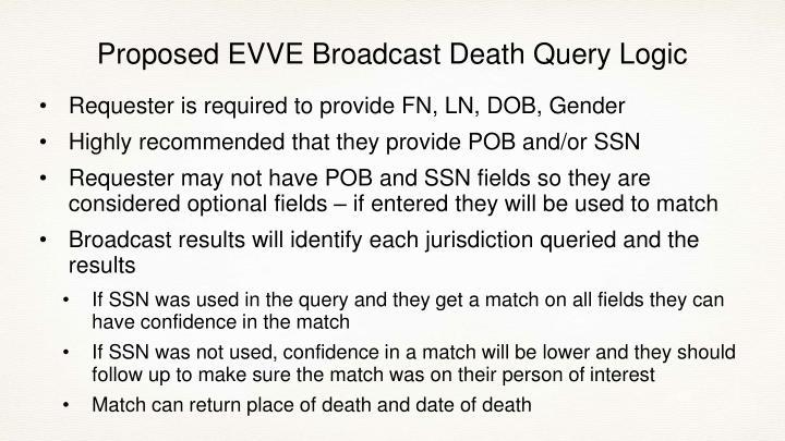 Proposed EVVE Broadcast Death Query Logic