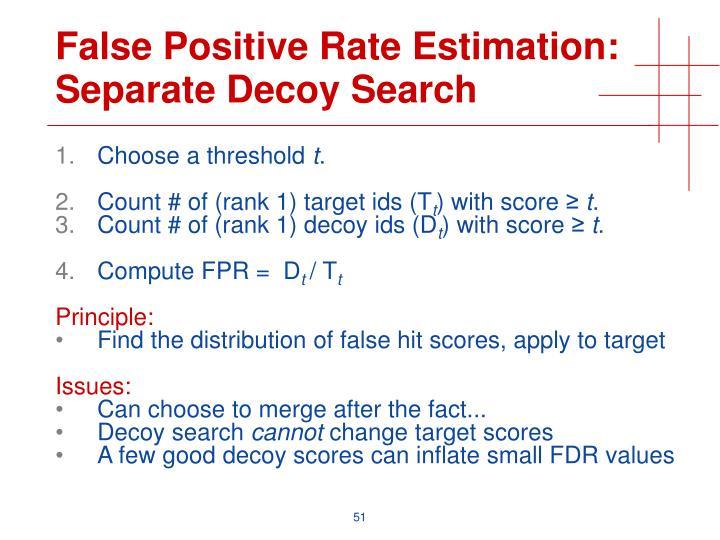 False Positive Rate Estimation: Separate Decoy Search