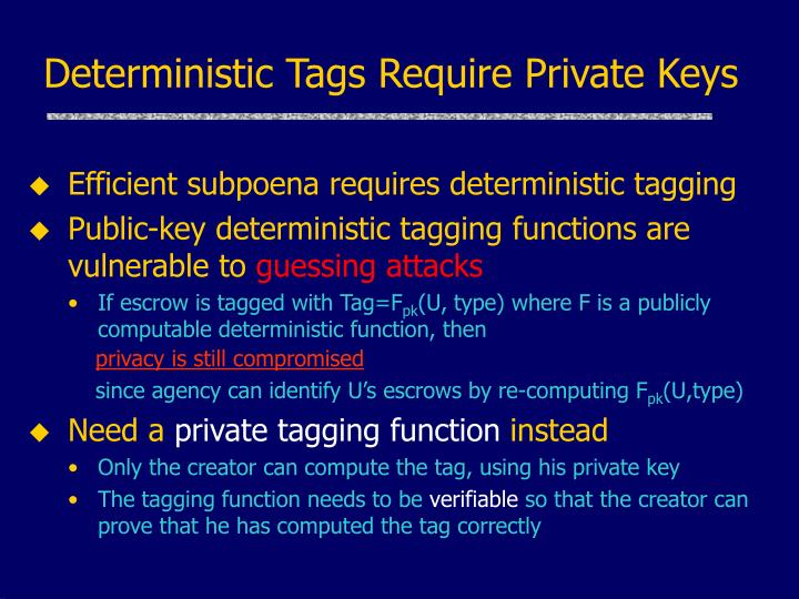 Deterministic Tags Require Private Keys