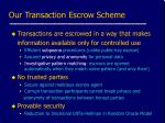 our transaction escrow scheme