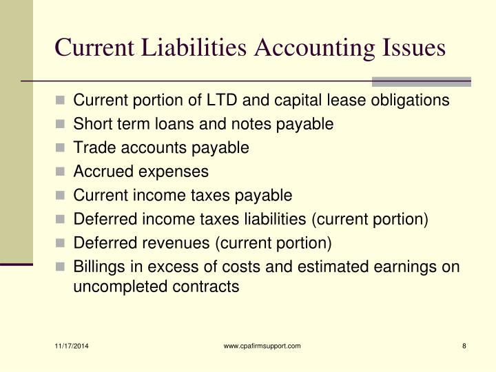 Current Liabilities Accounting Issues