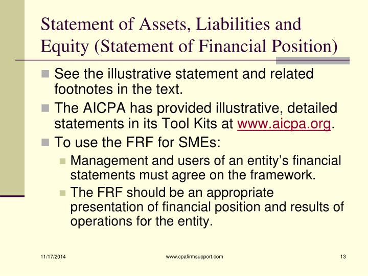 Statement of Assets, Liabilities and Equity (Statement of Financial Position)