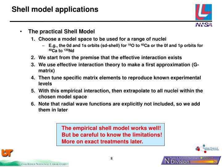 Shell model applications