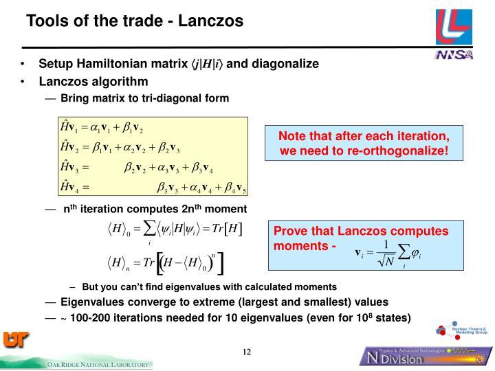 Prove that Lanczos computes moments -