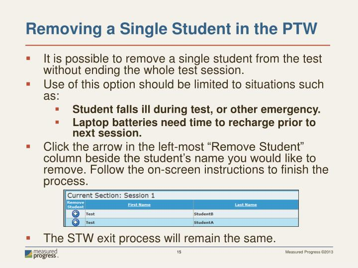 It is possible to remove a single student from the