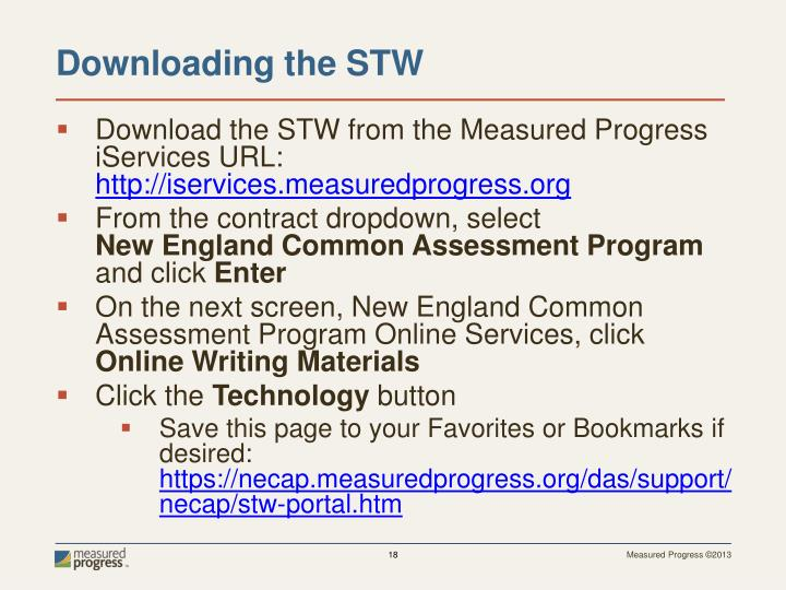 Download the STW from the Measured Progress