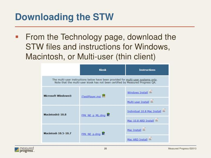 From the Technology page, download the STW files and instructions for Windows, Macintosh, or Multi-user (thin client)