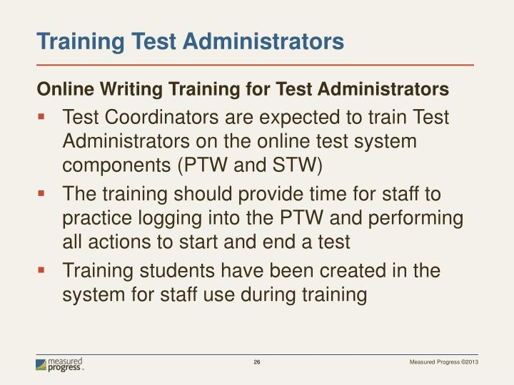 Online Writing Training for Test