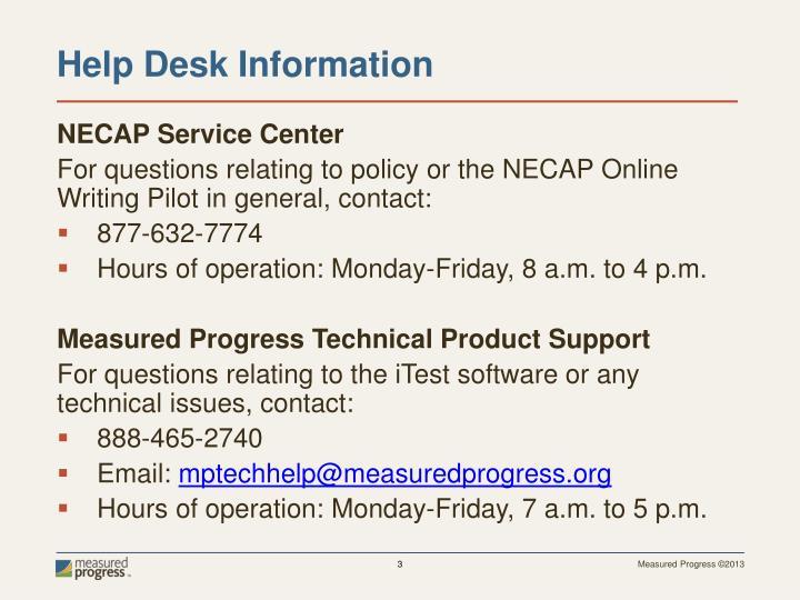 NECAP Service Center