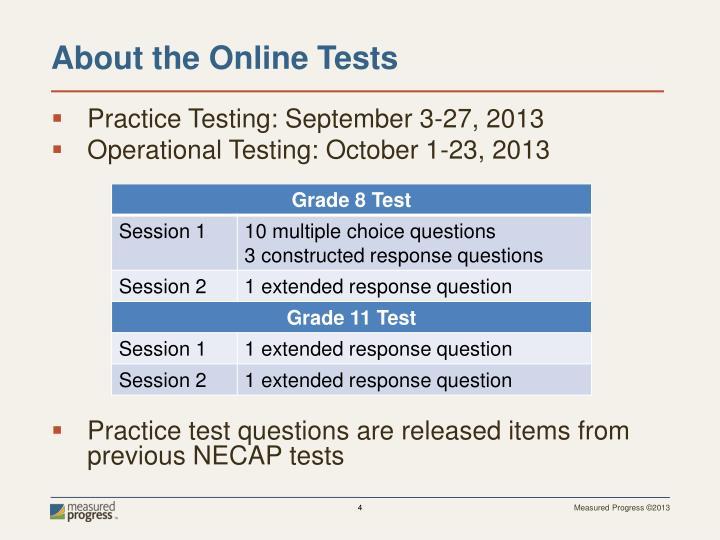 Practice Testing: September 3-27, 2013