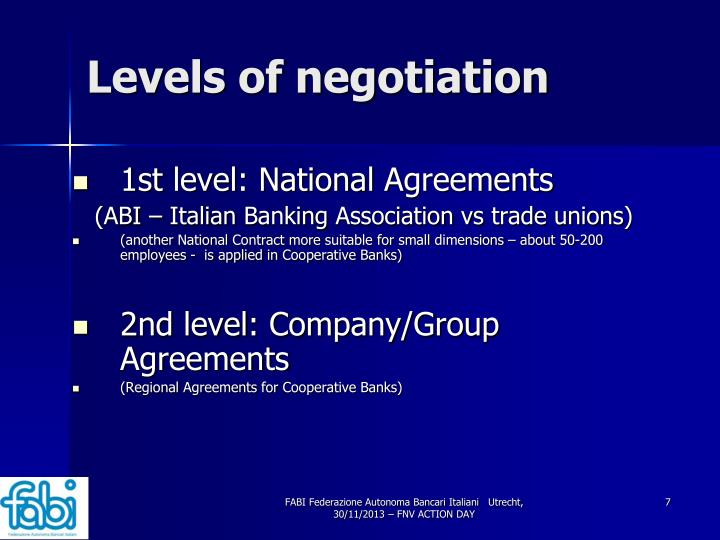 Levels of negotiation