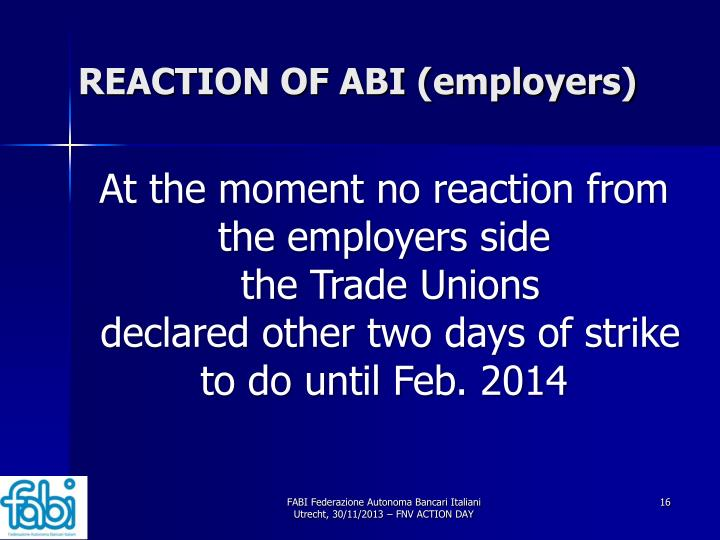 REACTION OF ABI (employers)