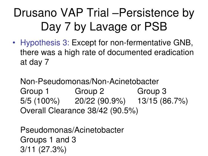 Drusano VAP Trial –Persistence by Day 7 by Lavage or PSB