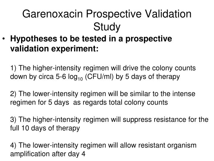 Garenoxacin Prospective Validation Study
