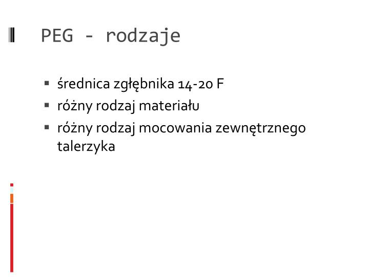 PEG - rodzaje