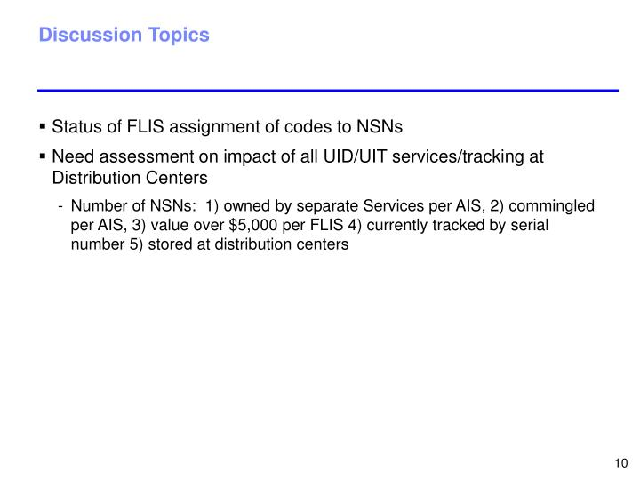 Status of FLIS assignment of codes to NSNs