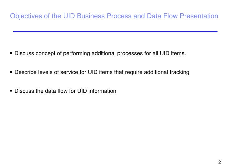 Discuss concept of performing additional processes for all UID items.