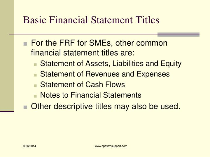 Basic Financial Statement Titles