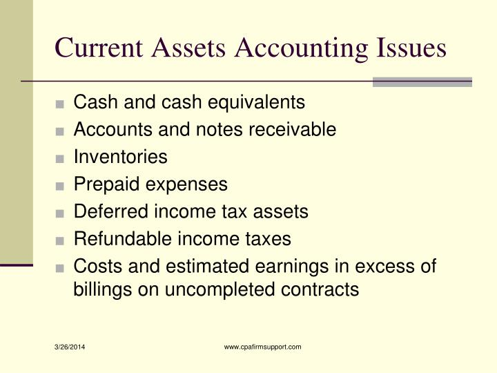 Current Assets Accounting Issues