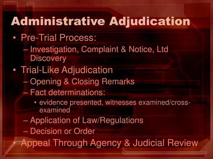 Administrative Adjudication