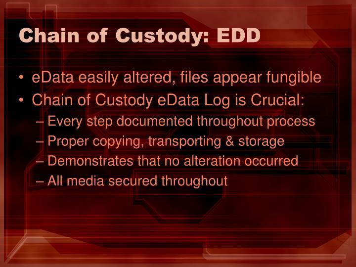 Chain of Custody: EDD