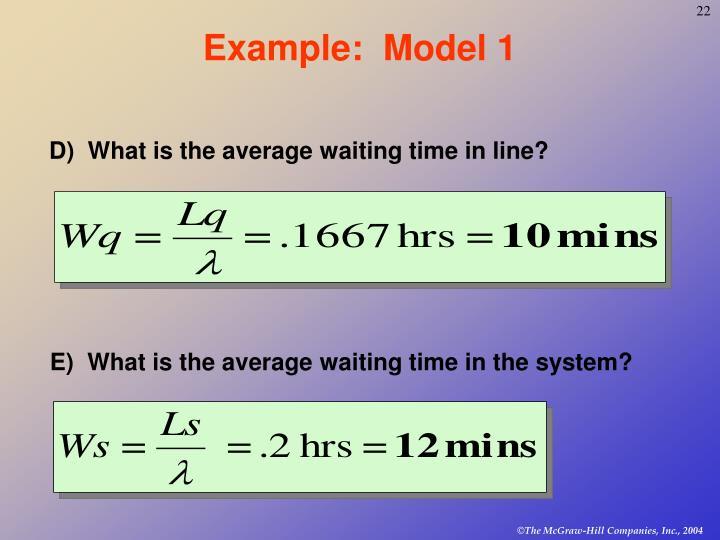 Example:  Model 1
