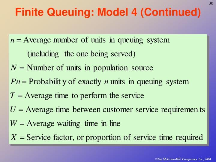 Finite Queuing: Model 4 (Continued)