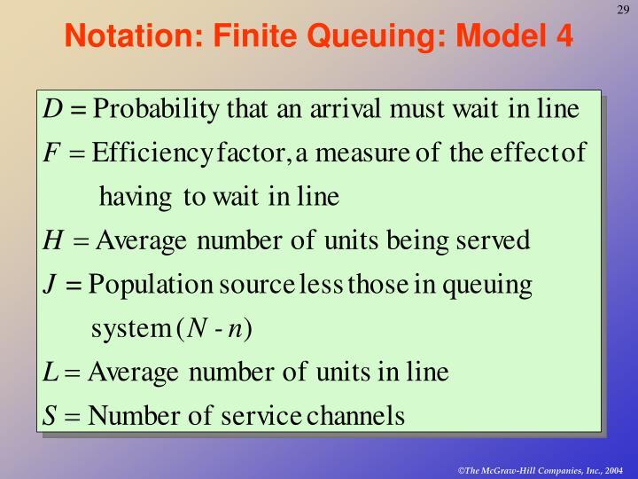 Notation: Finite Queuing: Model 4