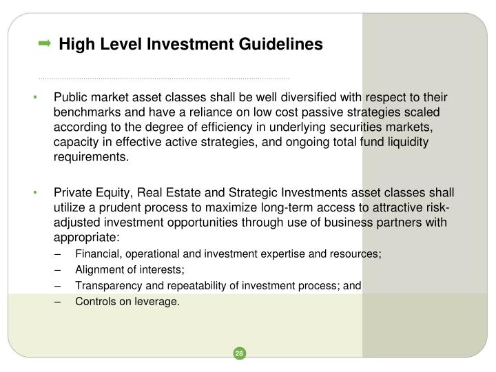 High Level Investment Guidelines